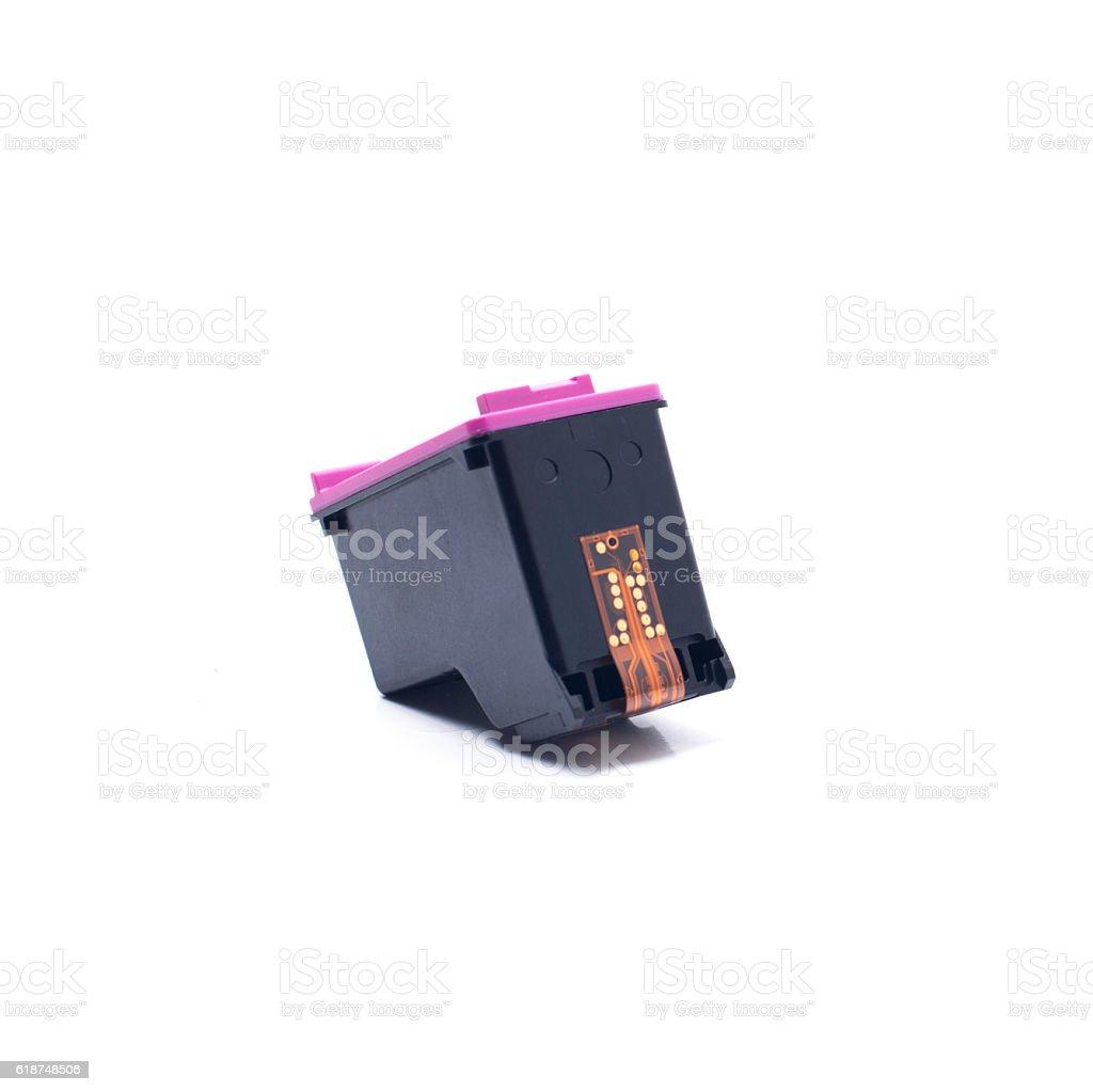 Ink Cartridges on White Background stock photo