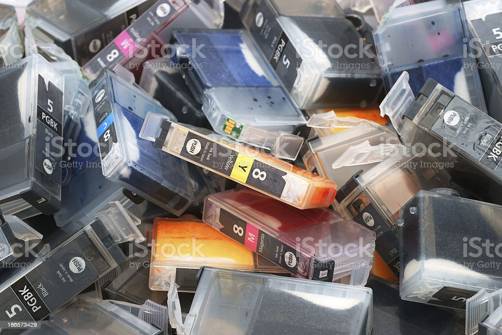Ink cartridges ready for recycling stock photo