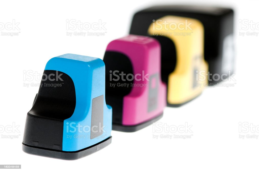 Ink cartridges to recycle, isolated on white stock photo