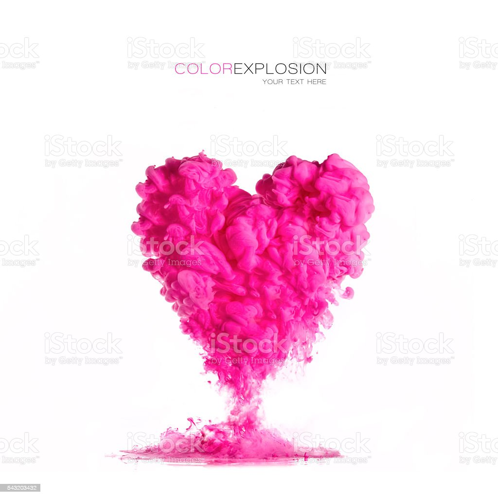 ink cloud pink heart-shaped on white. Color Explosion stock photo