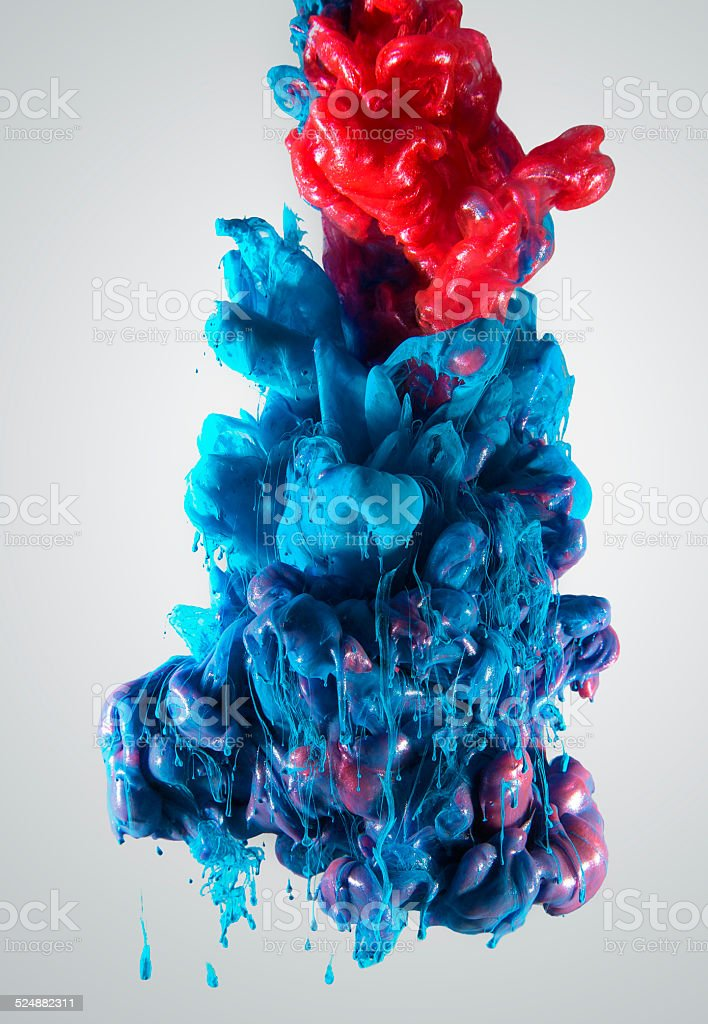 ink color drop, red and blue stock photo