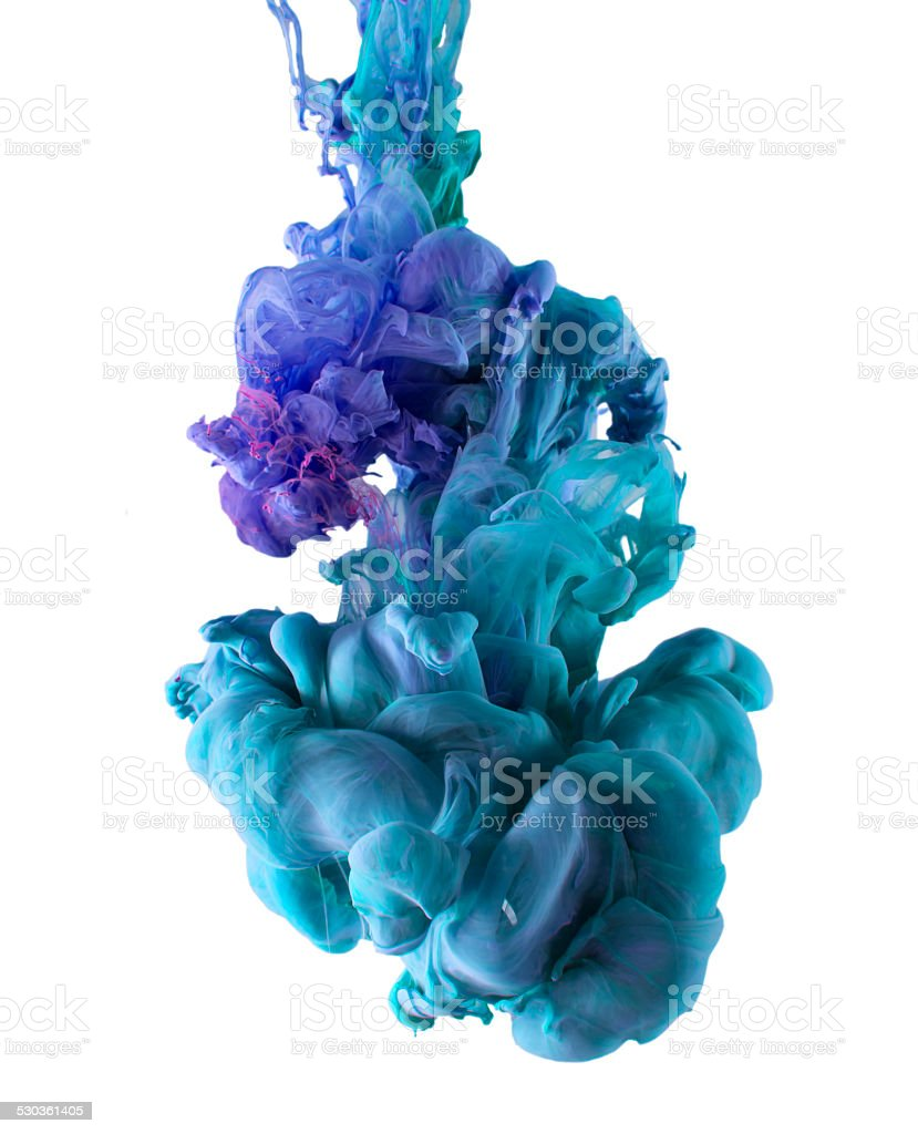 ink color drop, violet and blue stock photo