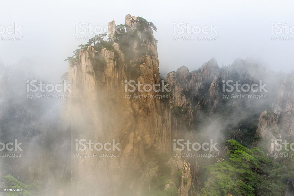 Ink landscape painting in Mount Huang stock photo