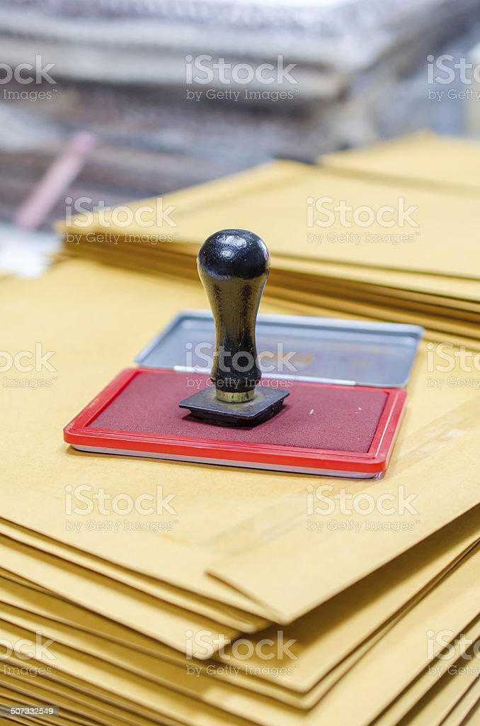 Ink pad and wooden rubber stamp stock photo