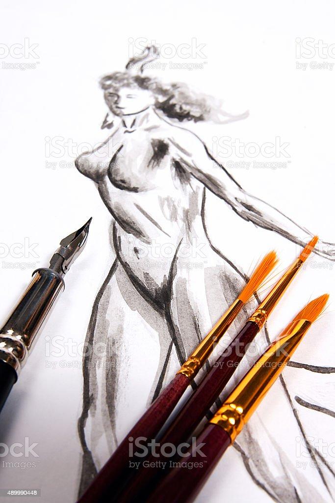 Ink pen y diferentes tipos de cepillo con original foto de stock libre de derechos