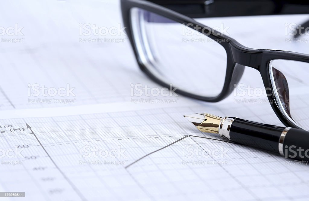 Ink Pen And Spectacles royalty-free stock photo