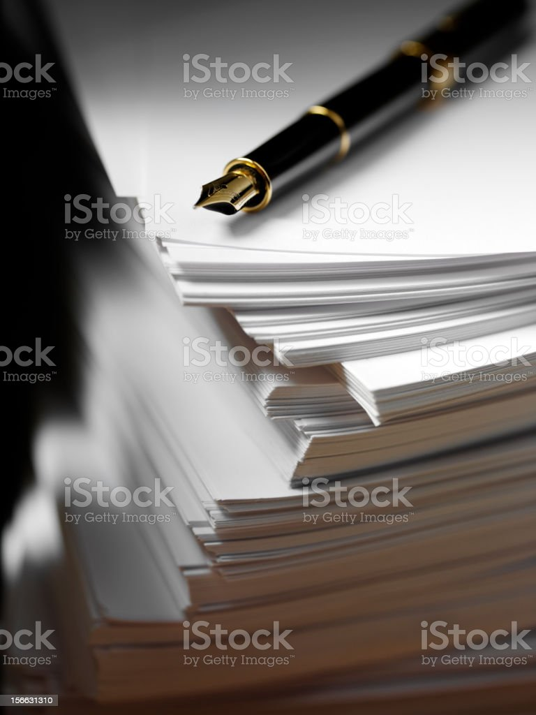 Ink Pen and White Paper royalty-free stock photo