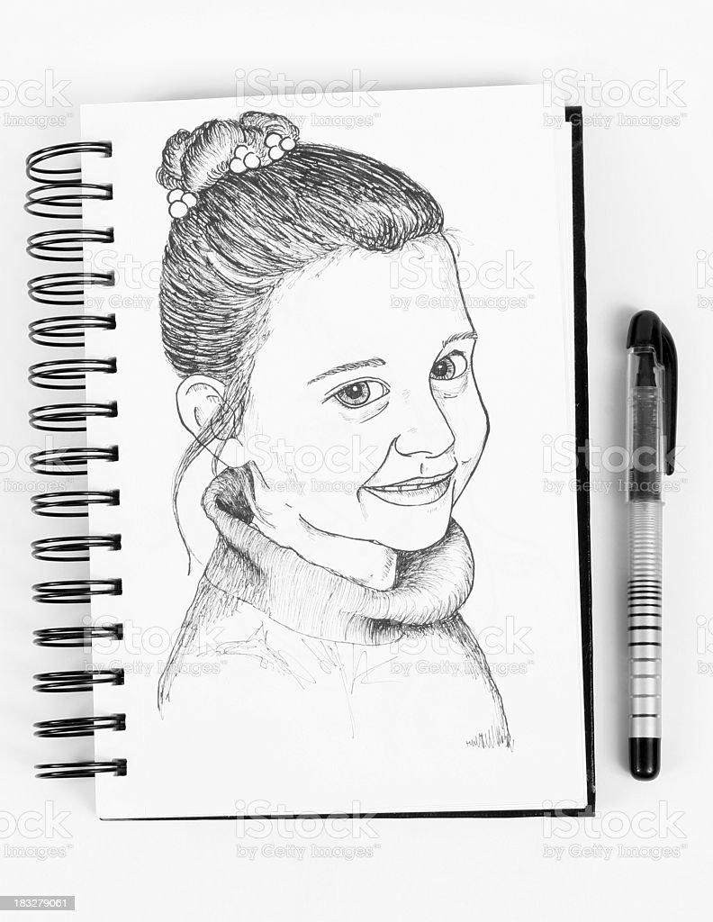 Ink Portrait royalty-free stock photo