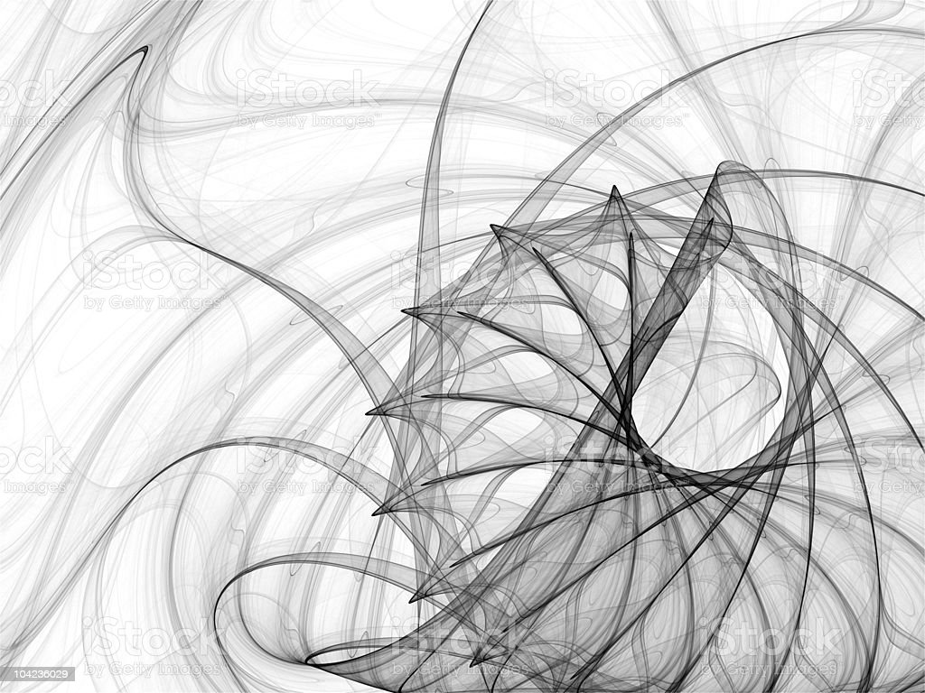 Ink Spirals and Spines Abstract Fractal Illustration royalty-free stock photo