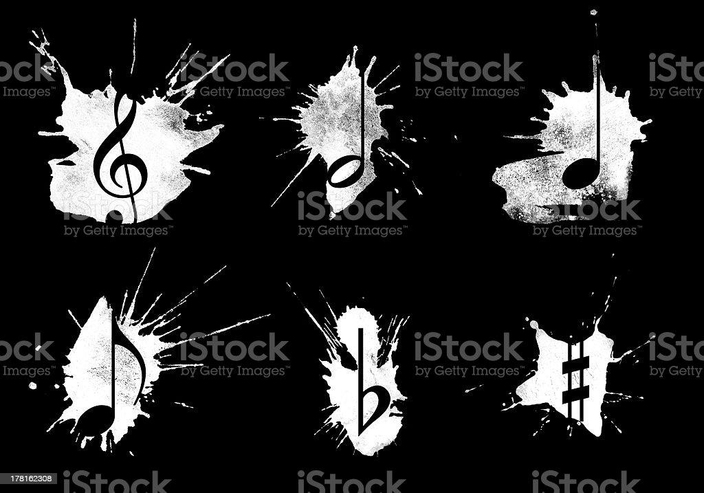 Ink splatter, music icons set on black background stock photo