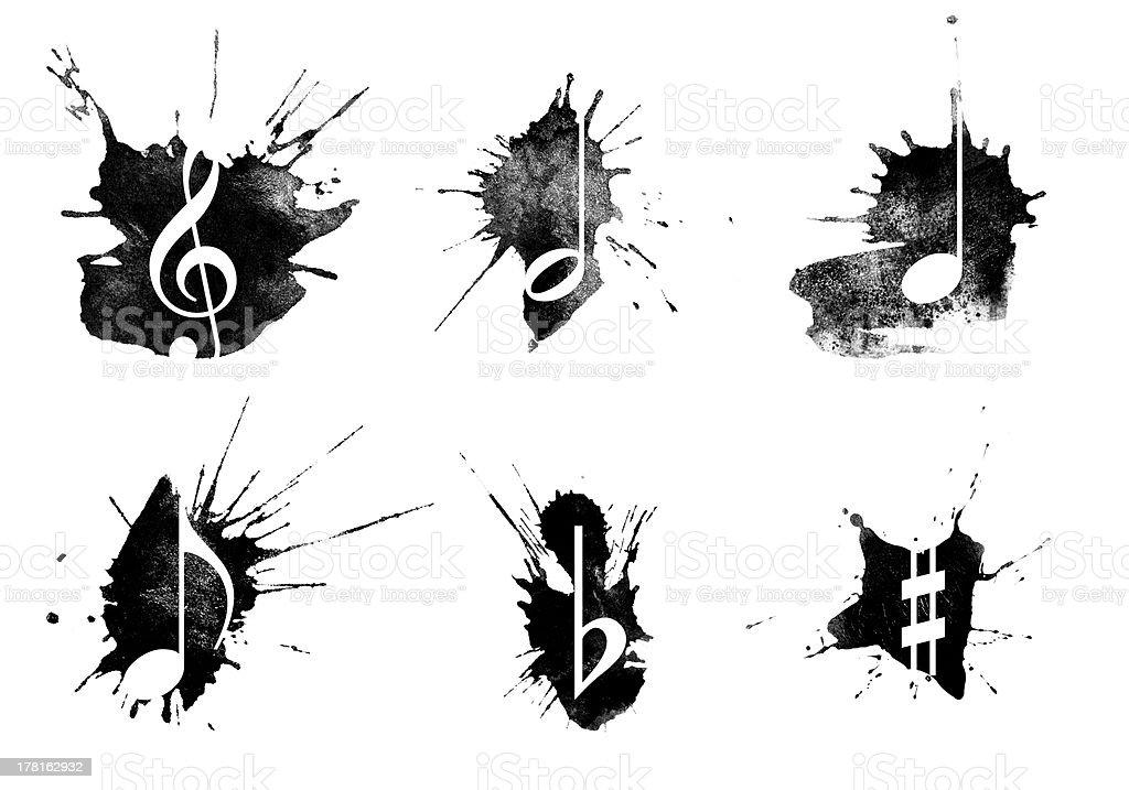 Ink splatter, music icons set on white background stock photo
