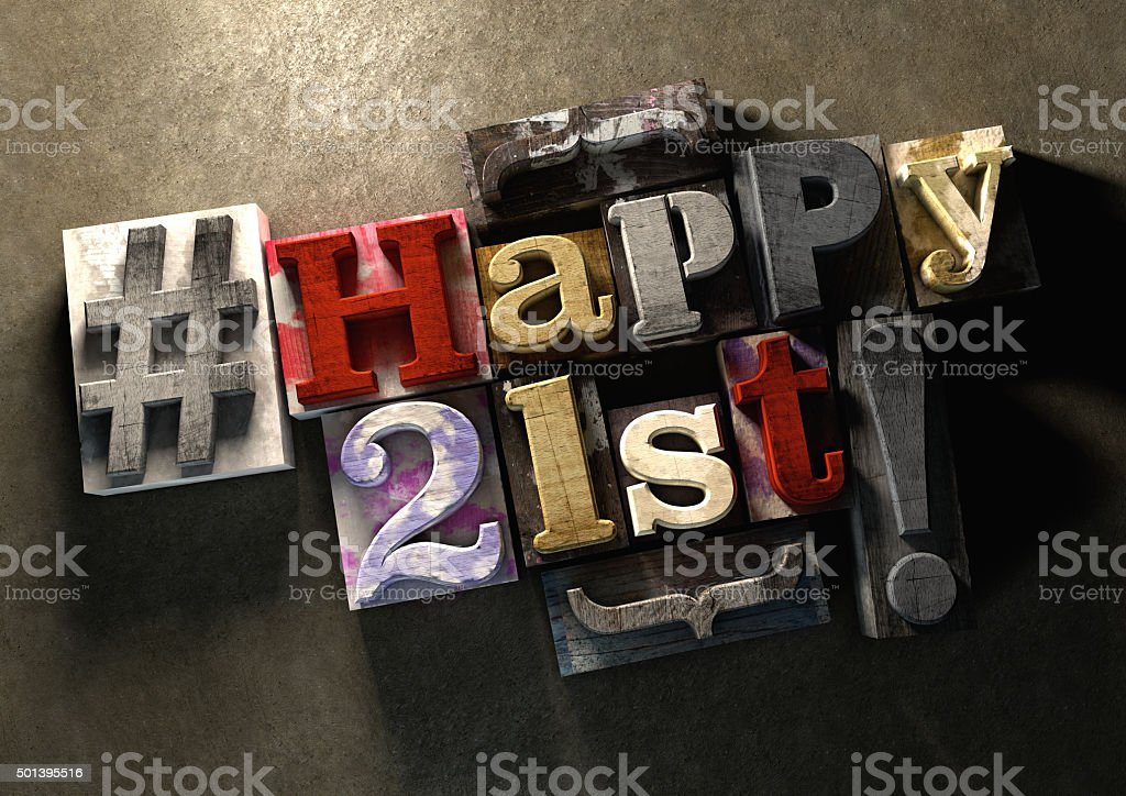 Ink splattered printing wood blocks with grungy Happy 21st typog stock photo