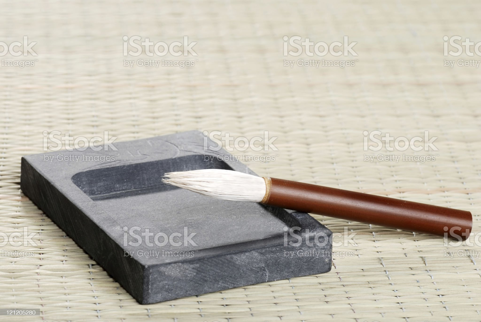 ink stone and calligraphy brush royalty-free stock photo