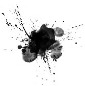 Ink wash painting splatter on a white background