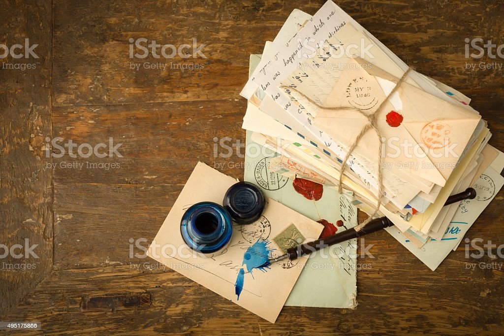 Ink well and fountain pen stock photo