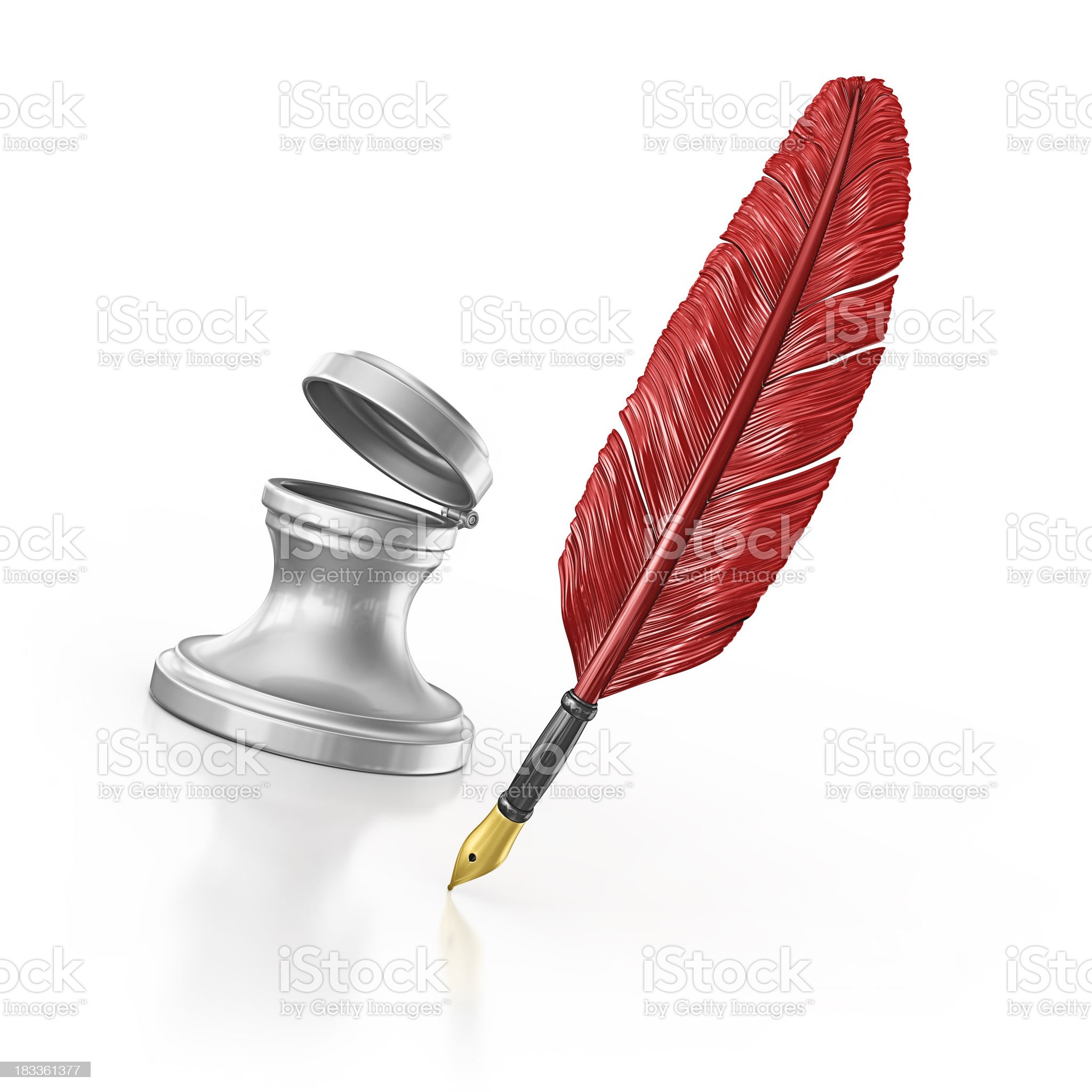 ink well and quill pen royalty-free stock photo