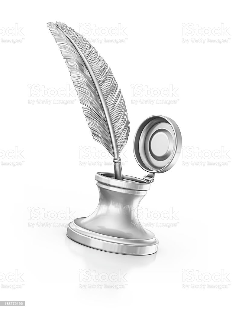ink well and quill pen stock photo