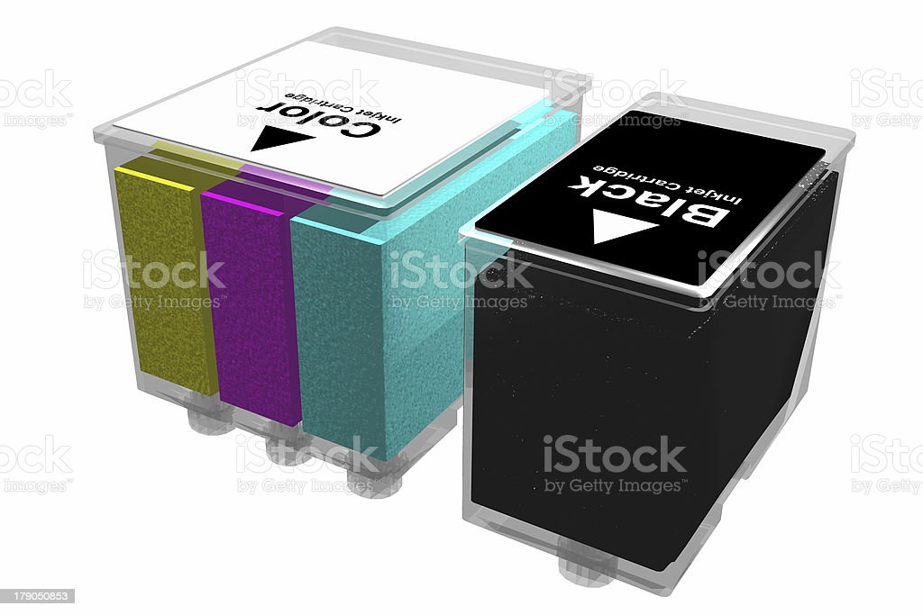 Inkjet cartridges (3D) royalty-free stock photo