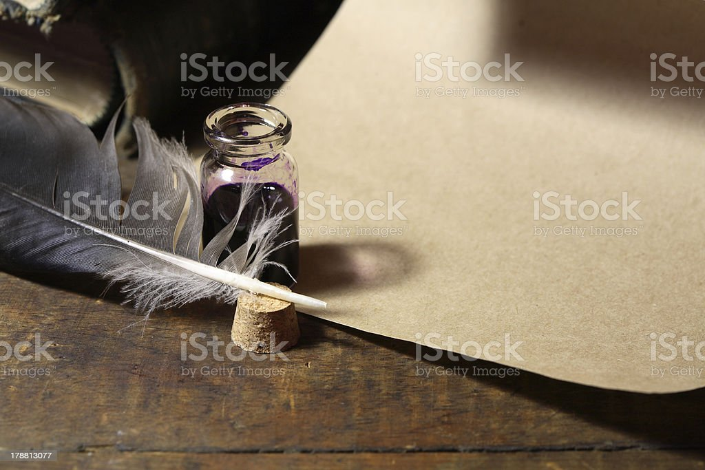 Inkpot And Quill Pen stock photo