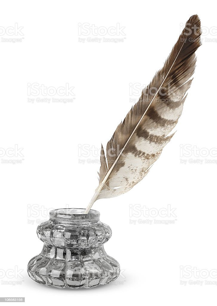 Inkstand and quill stock photo