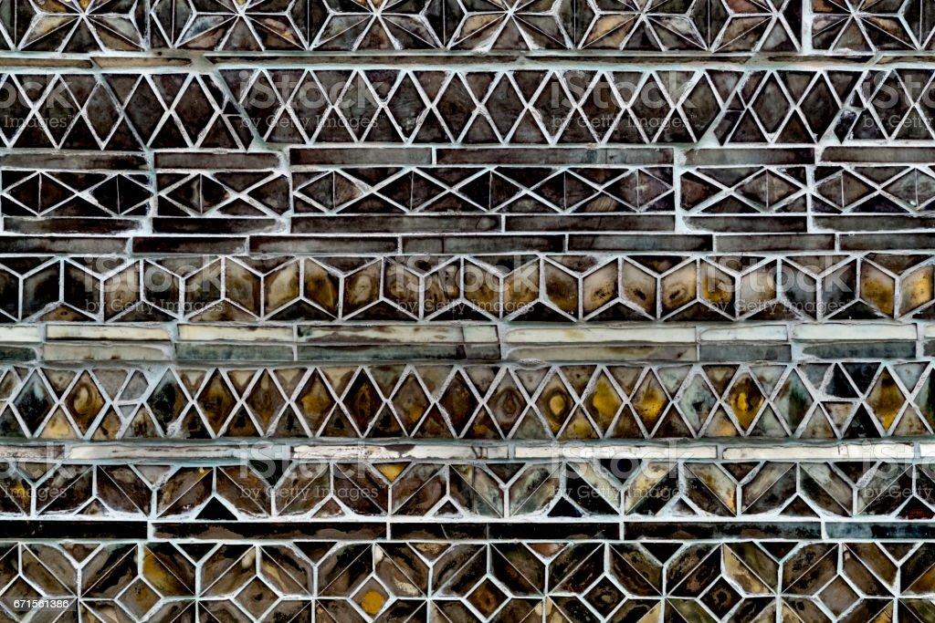 Inlaid mosaic glass wall, Swedagon Pagoda, Yangon, Myanmar stock photo
