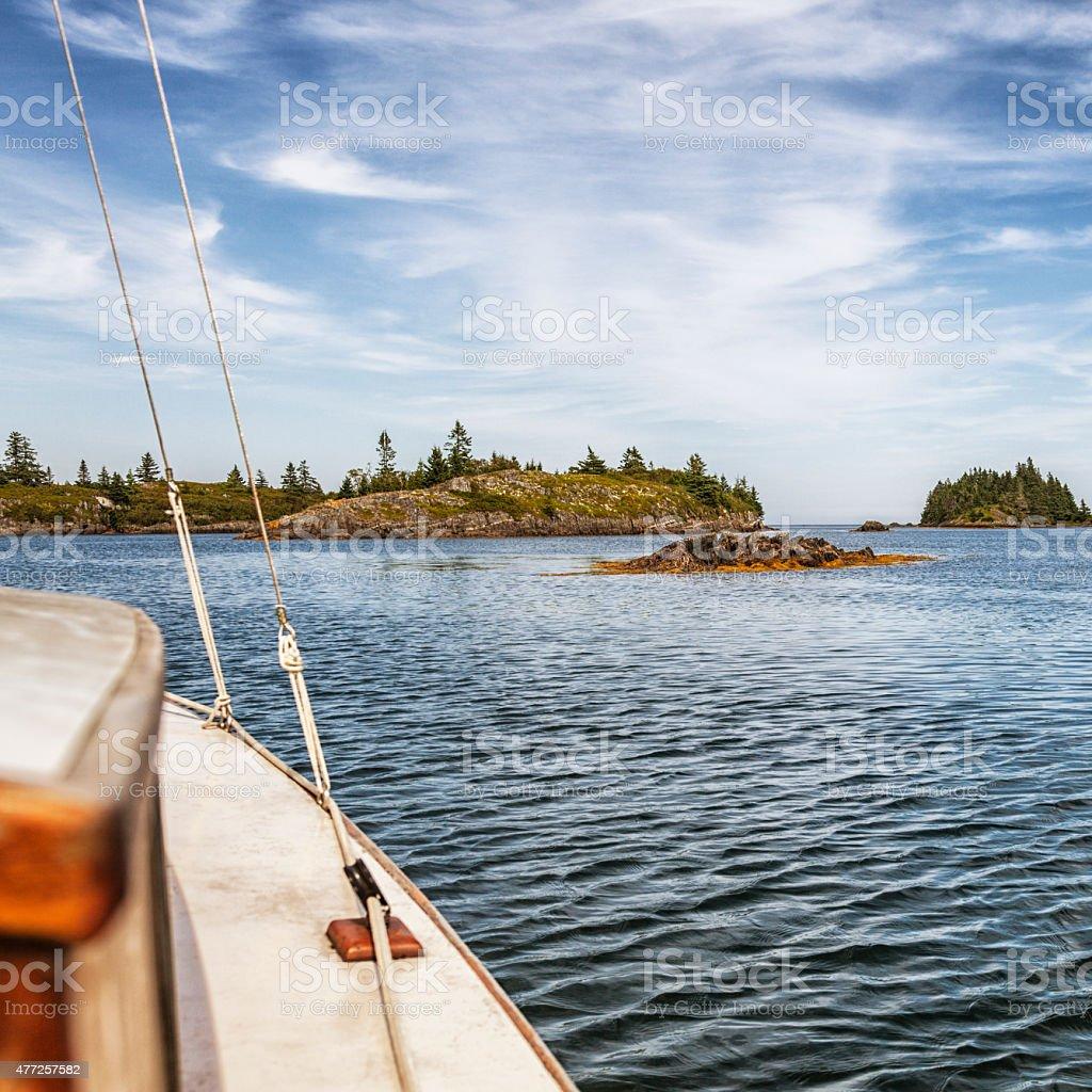 Inland Coastal Waters Sailboat - Nova Scotia Canada stock photo