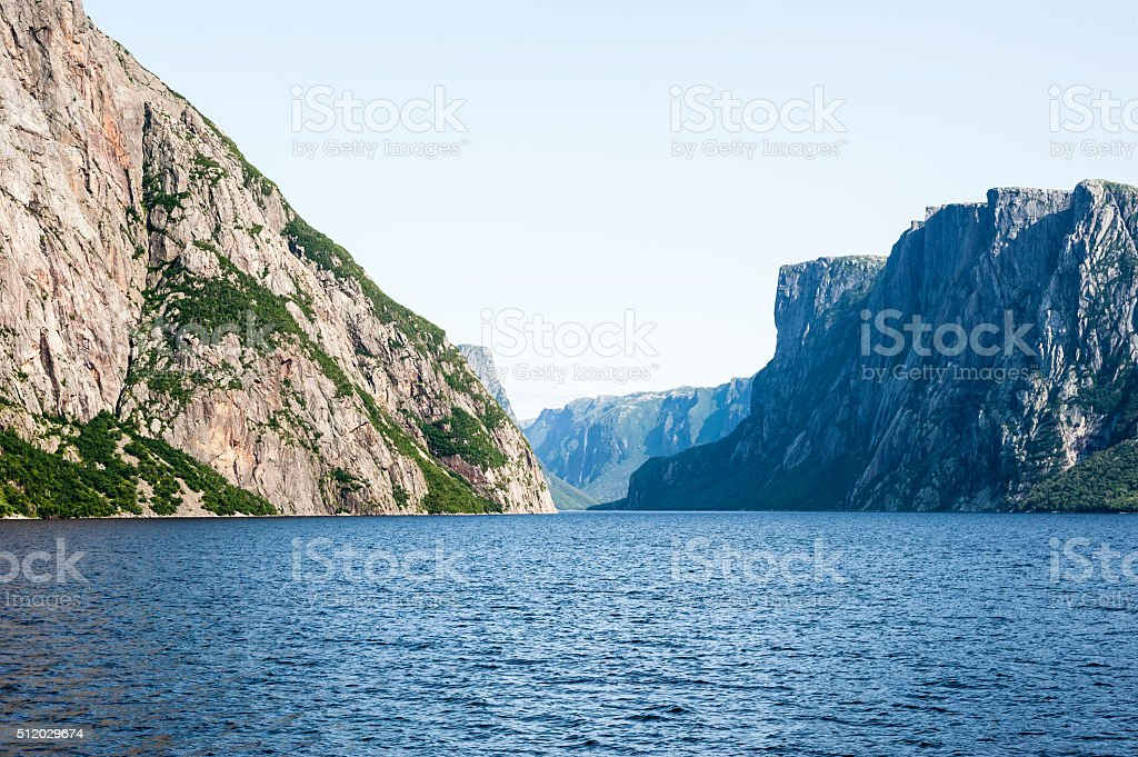 Inland fjord between rugged steep cliffs stock photo