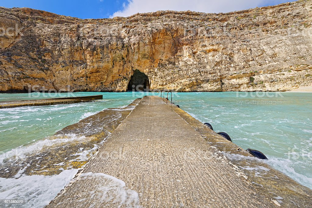 Inland Sea at Dwejra, Gozo, Malta, wide angle stock photo
