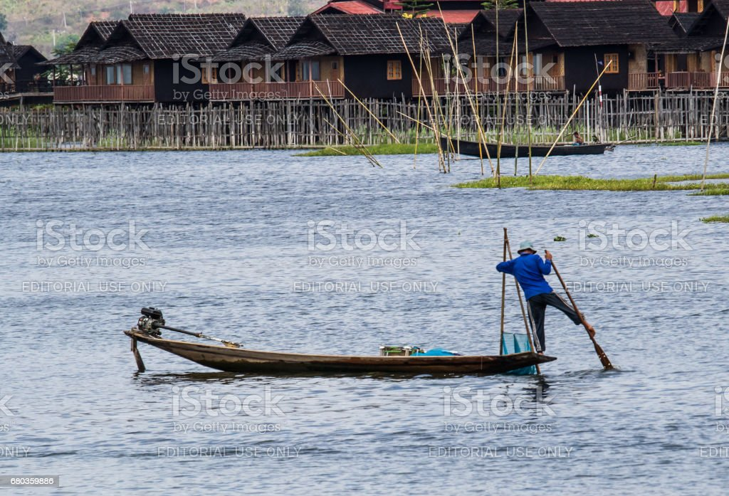 Inle lake fisherman stock photo