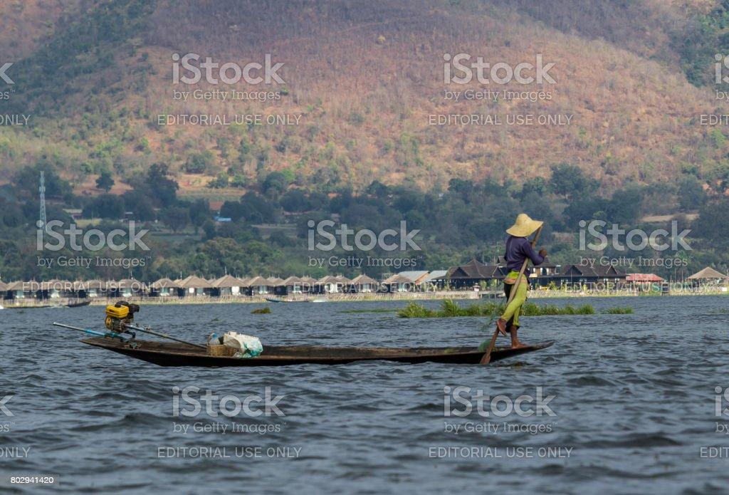 Inle lake fisherman stock photo
