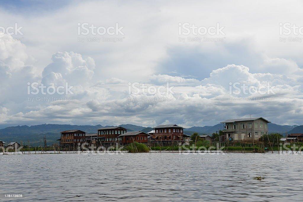 Inle lake houses royalty-free stock photo
