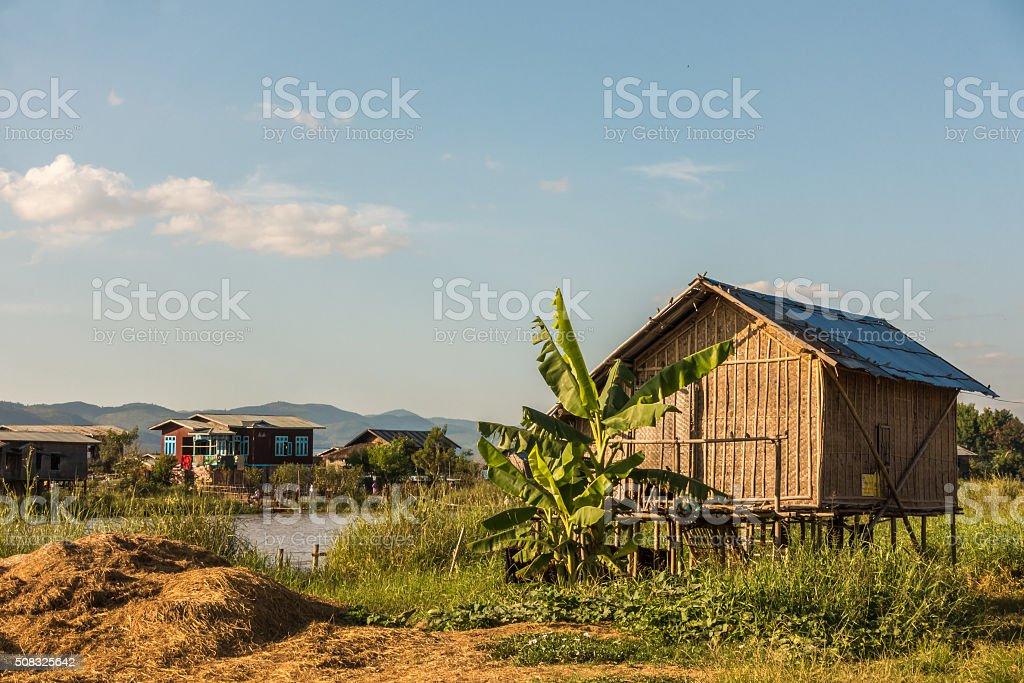 Inle Lake Village stock photo