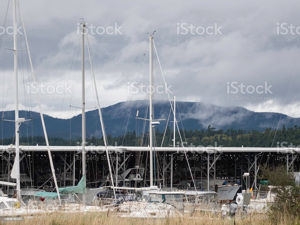 Inlet view with ragged moody sky stock photo
