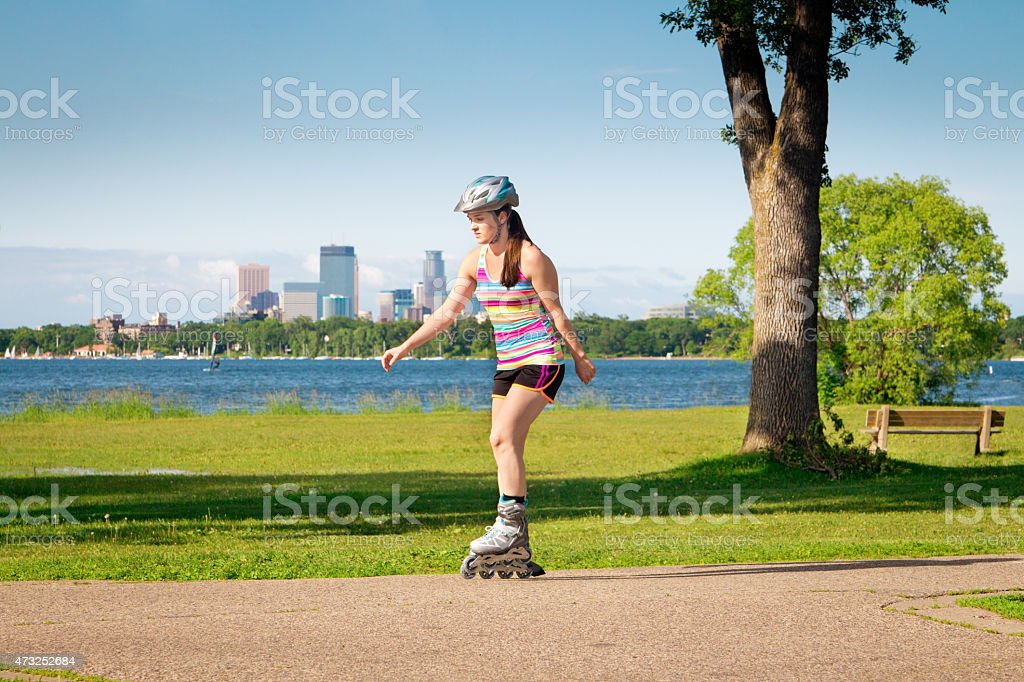 In-line Skater Exercise in Urban Park Minneapolis, Minnesota stock photo