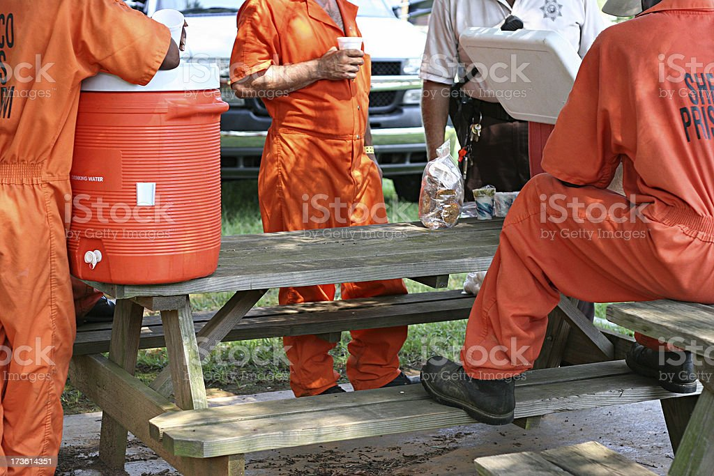 Inmates on Break 2 stock photo