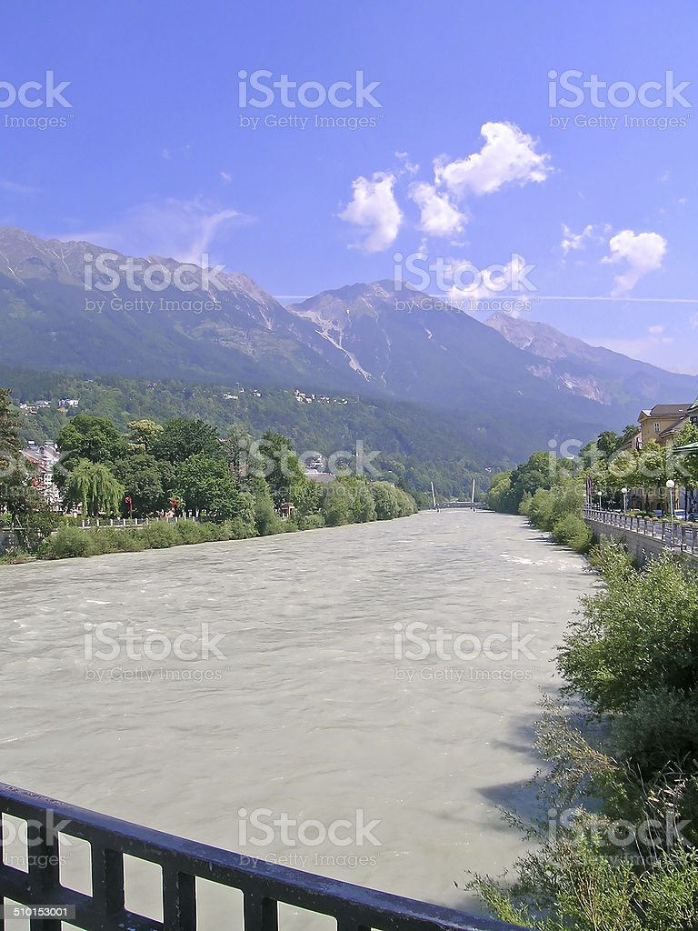 Inn river and alps, Innsbruck, Austria stock photo