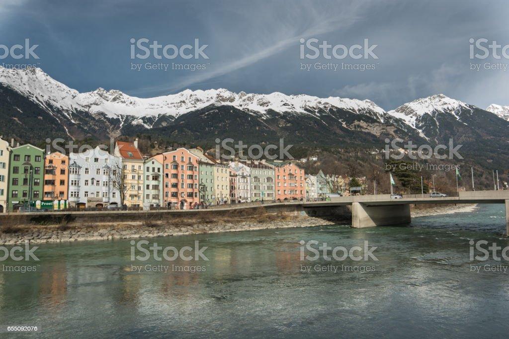 Inn river in Innsbruck stock photo