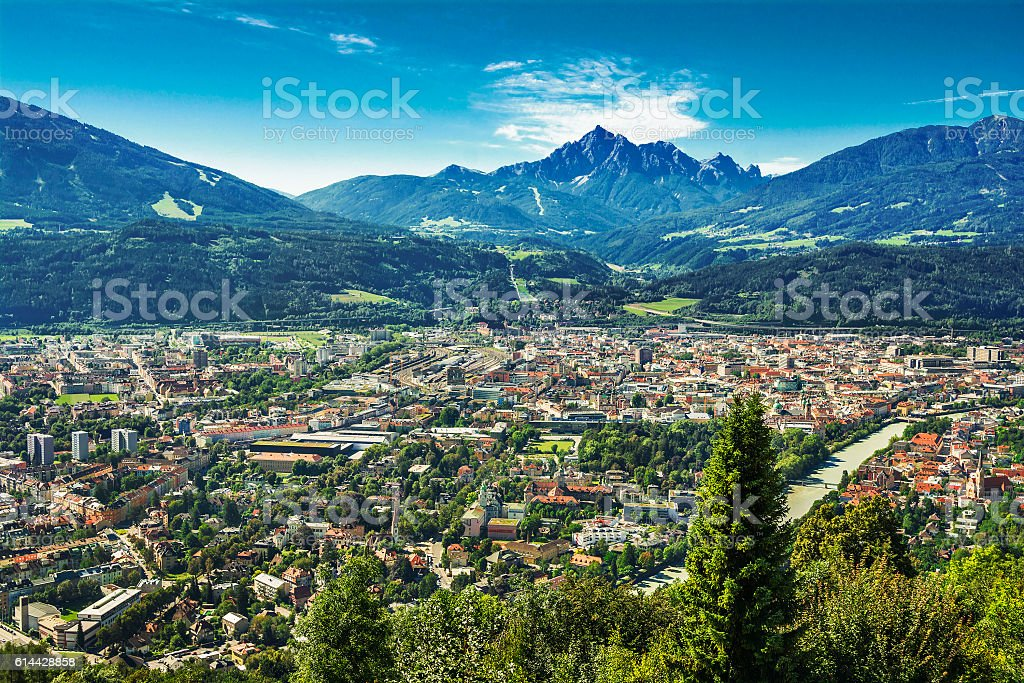 Inn Valley with Innsbruck city, Austria, view from above stock photo