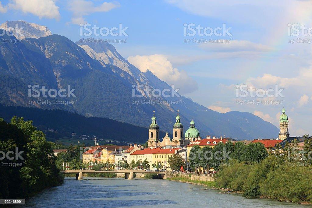 Inn-Bridge and Innsbruck skyline stock photo