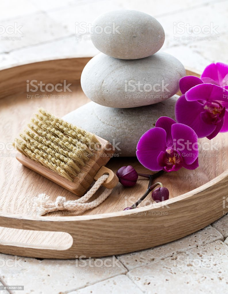 inner beauty and nail care with relaxing stack of stones stock photo