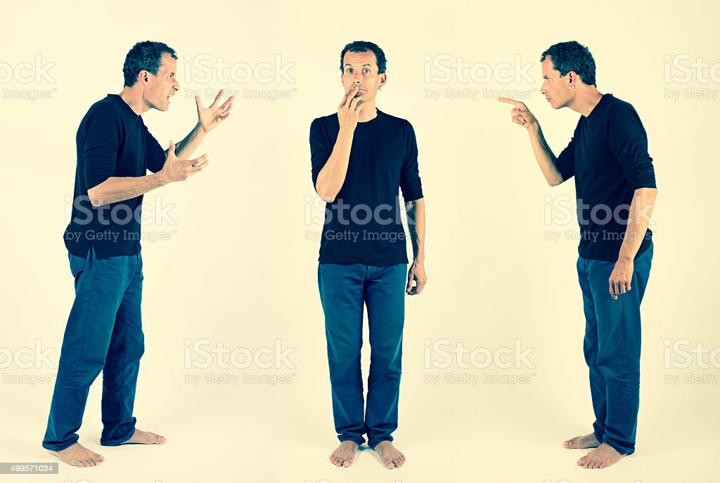 inner conflict of different personalities stock photo