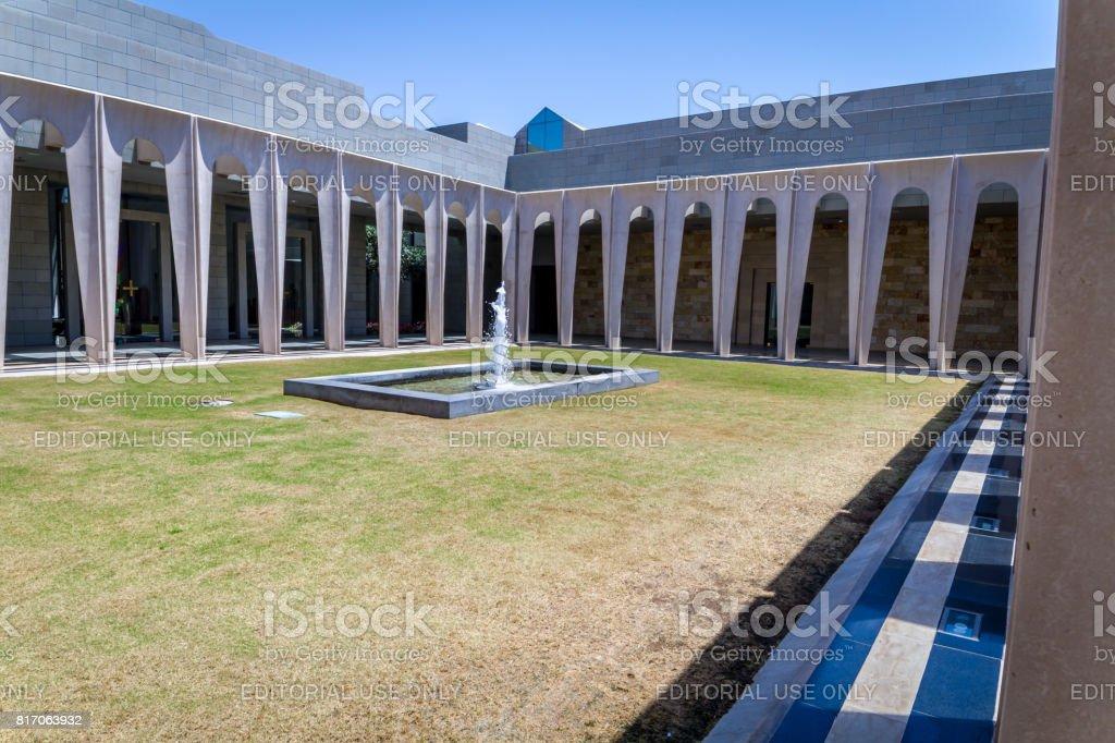 Inner courtyard in Domus Galilaeae, Sea of Galilee in Israel stock photo