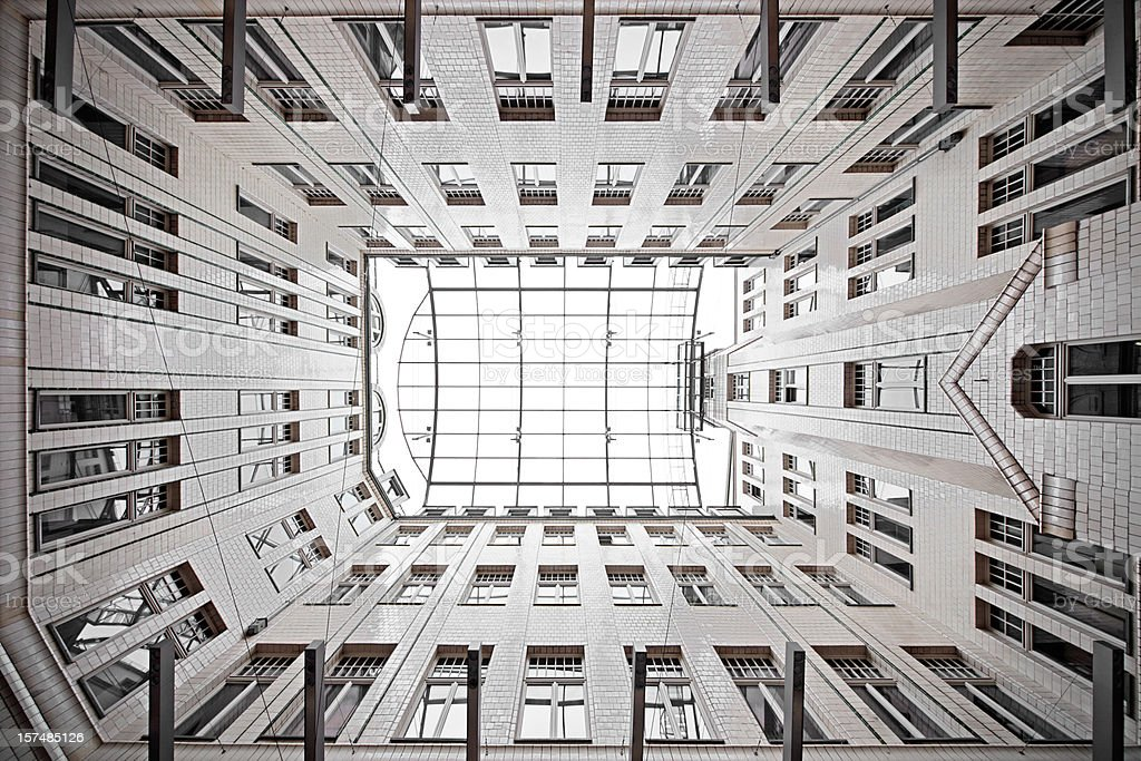Inner courtyard of an old building in leipzig stock photo