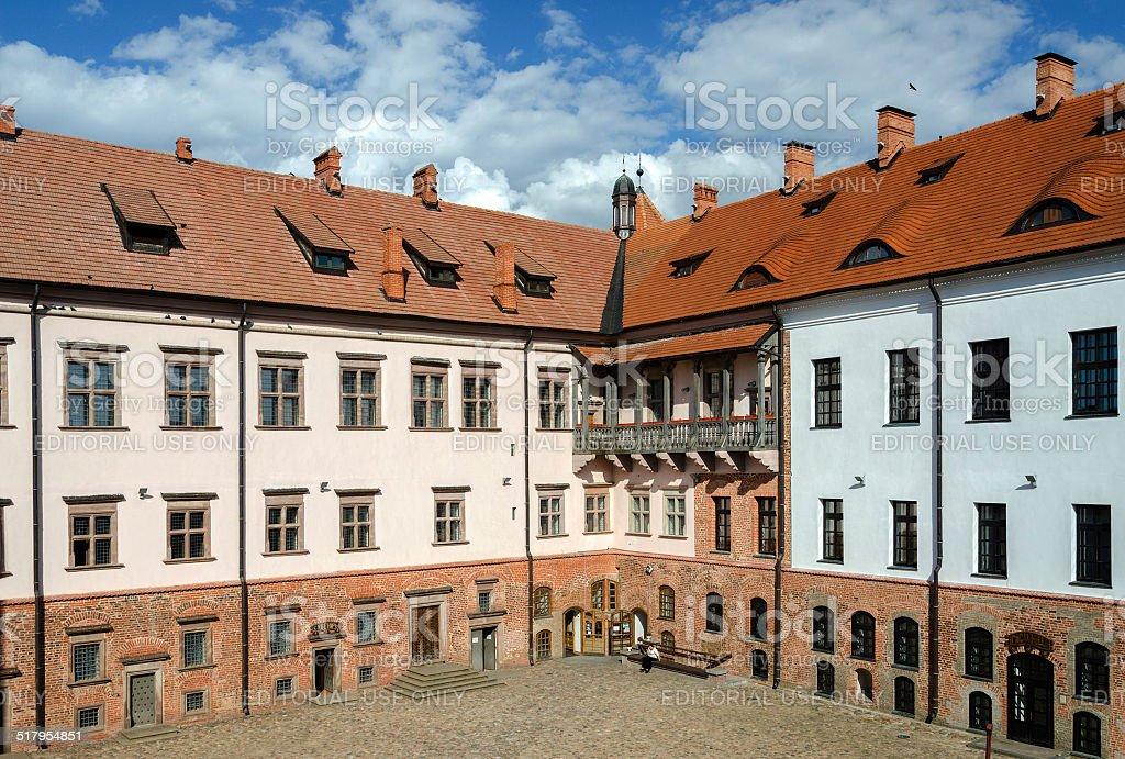 Inner courtyard of the Mir Castle, Belarus stock photo