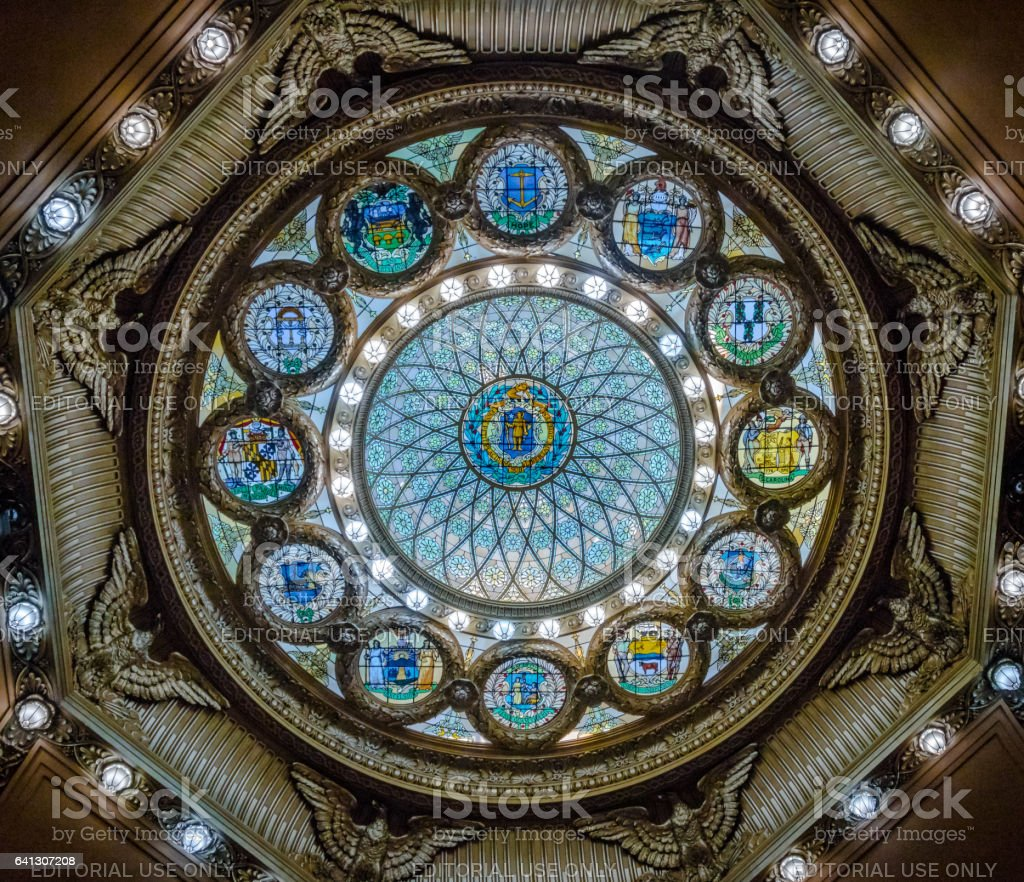 Inner dome of Massachusetts State House stock photo