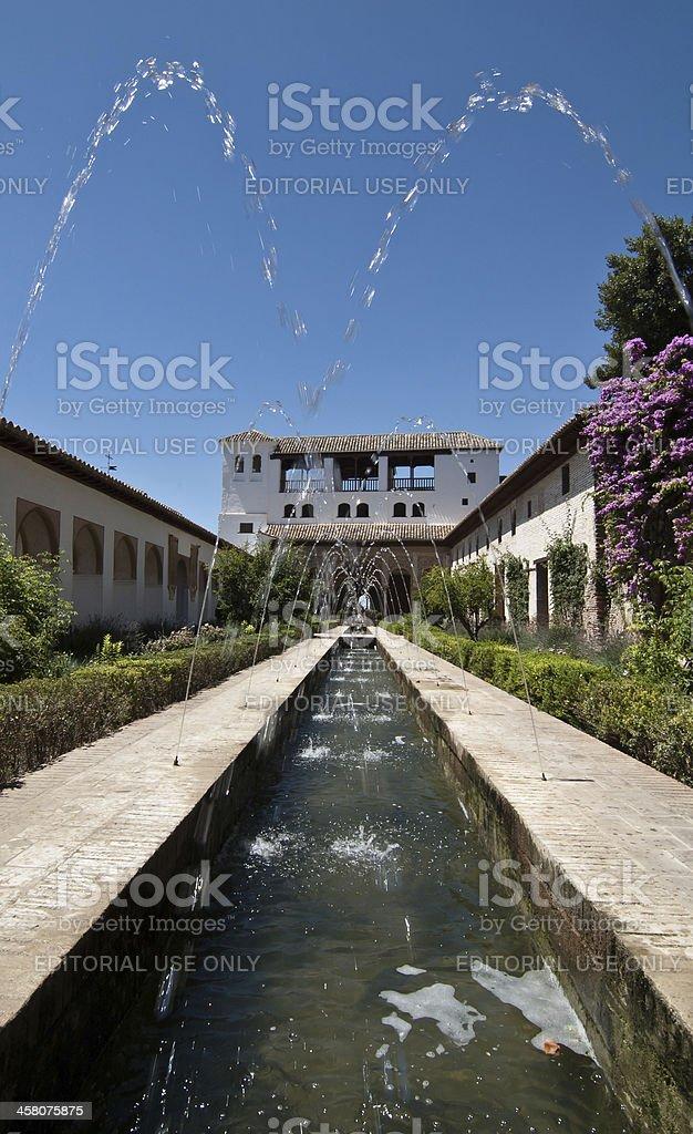 Inner garden in Alahambra, Granada, Spain royalty-free stock photo