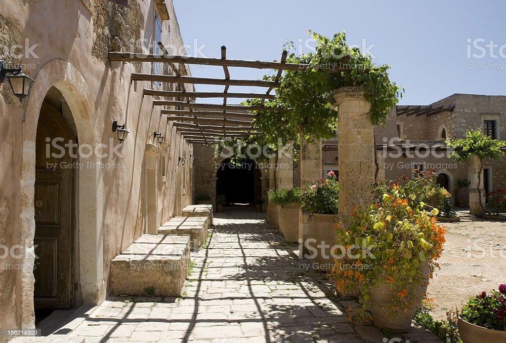 Inner garden monastery of Arkadi, Crete, Greece royalty-free stock photo