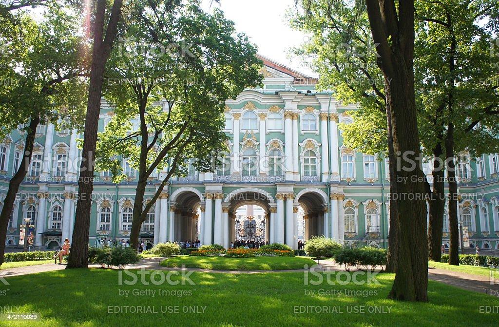 Inner garden of Winter Palace, Saint Petersburg stock photo