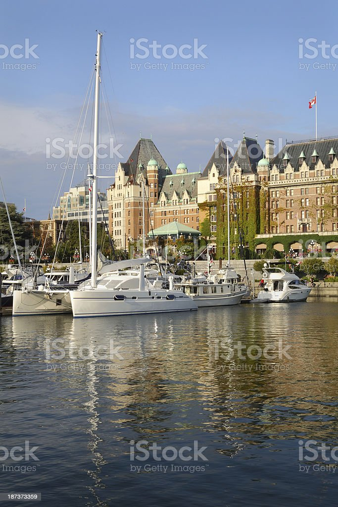 Inner Harbor Afternoon, Victoria, BC, vertical stock photo