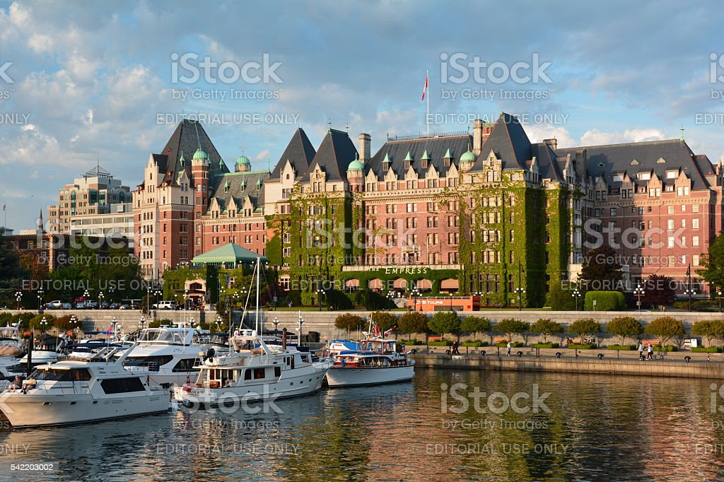 Inner Harbor and Empress Hotel stock photo